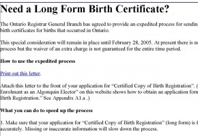 Correspondence and notices algonquins of ontario 30 2006 instructions to obtain a long form birth certificate yadclub Gallery