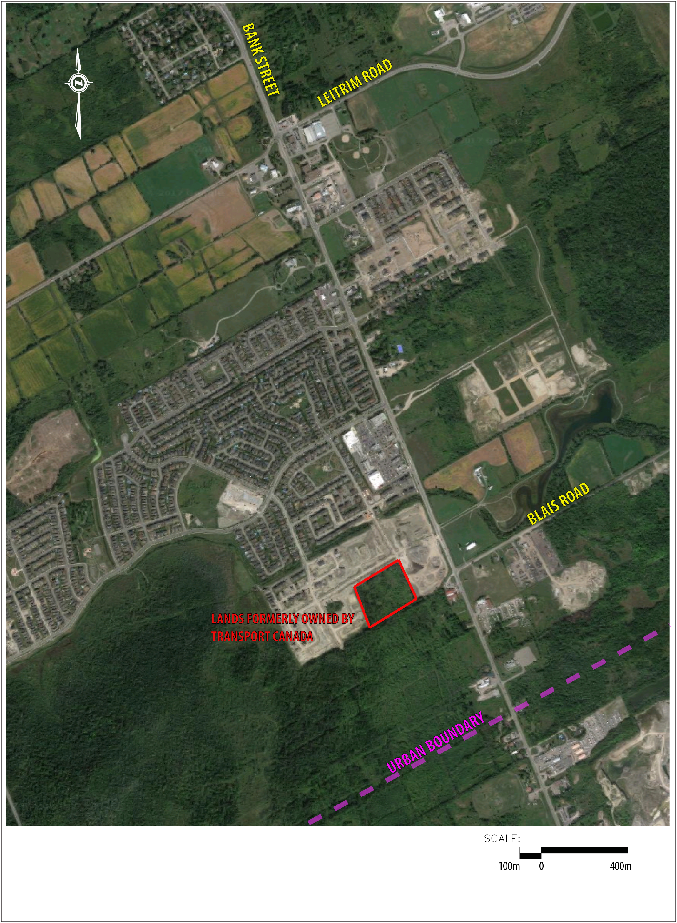 This image shows the intersection of Bank Street and Blais Road in south Ottawa. It is a vacant parcel and comprised of 10 acres (4.05 hectares) of land.